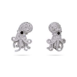 CZ Octopus Earrings Sterling Silver Studs Zirconia